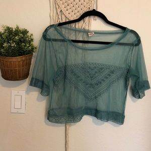Tops - NWOT Sheer embroidered crop top size small